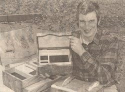 Peter Lloyd holding a box he has made